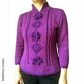 Одежда handmade. Livemaster - original item Sweater female Orchid, knitted, flowers, Merino wool. Handmade.