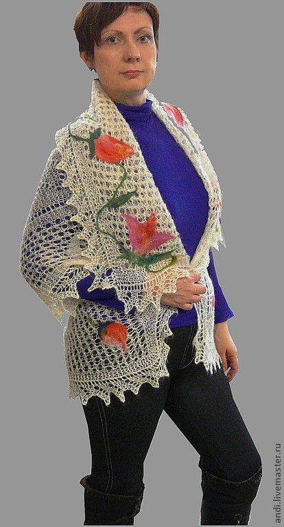 Vests handmade. Livemaster - handmade. Buy Cloak 'Spring bouquet'.Russian style, orenburg shawl