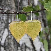 Украшения ручной работы. Ярмарка Мастеров - ручная работа Серьги из настоящих листьев берёзы -ювелирная смола. Handmade.