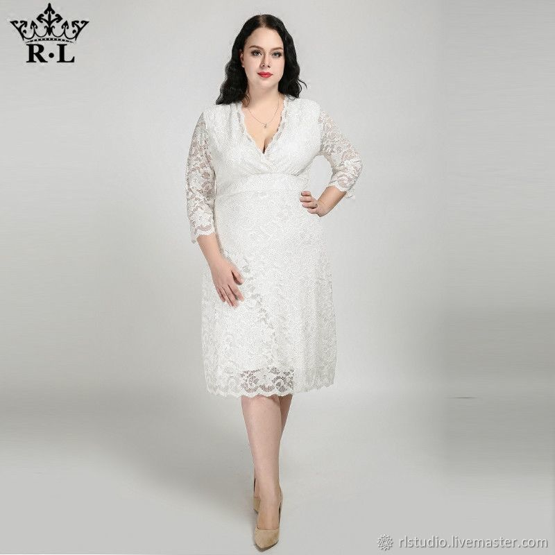Plus Size White Lace Wedding Dress – shop online on Livemaster with ...
