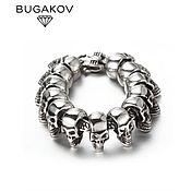 Украшения handmade. Livemaster - original item Men`s bracelet jewelry steel with skulls biker. Handmade.