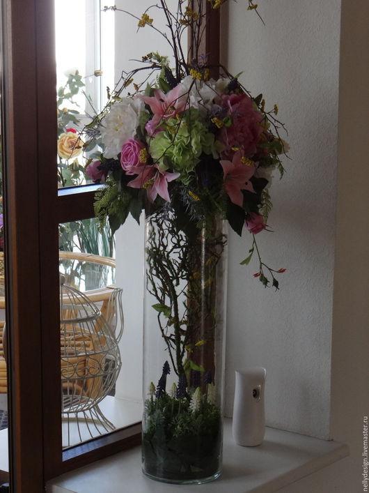 Интерьерные композиции ручной работы. Ярмарка Мастеров - ручная работа. Купить цветочная композиция в стеклянной вазе. Handmade. Цветочная композиция