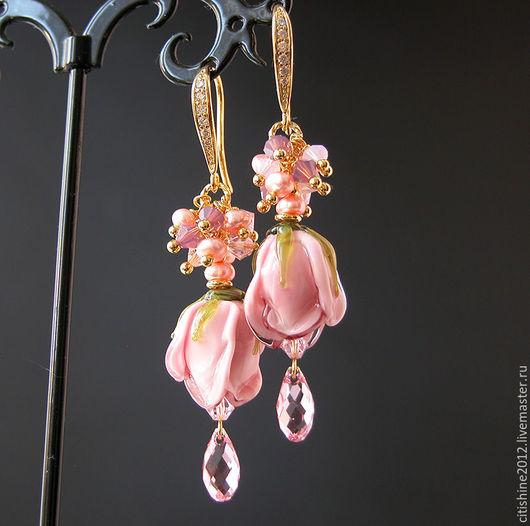 """Серьги ручной работы. Ярмарка Мастеров - ручная работа. Купить Серьги """" В розовой дымке..."""". Handmade."""