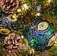 Набор стеклянных елочных шаров `Перо павлина`. Витражная роспись