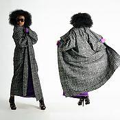 Одежда handmade. Livemaster - original item Black and white coat.Coat in the style of boho. Warm coat VE0508WK. Handmade.