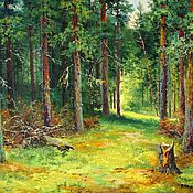 Картины и панно handmade. Livemaster - original item Oil painting peisaj In a pine forest _ the author`s work. Handmade.