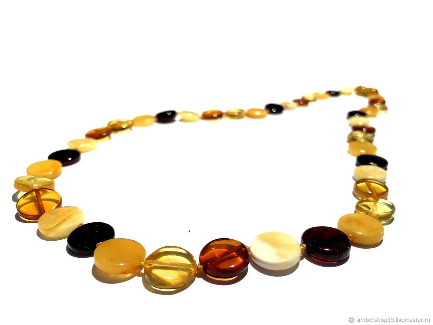 Beads from natural amber 'Tablets', Necklace, ,  Фото №1