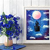 Картины ручной работы. Ярмарка Мастеров - ручная работа Картины: Возлюбленные на воздушном шаре. Handmade.
