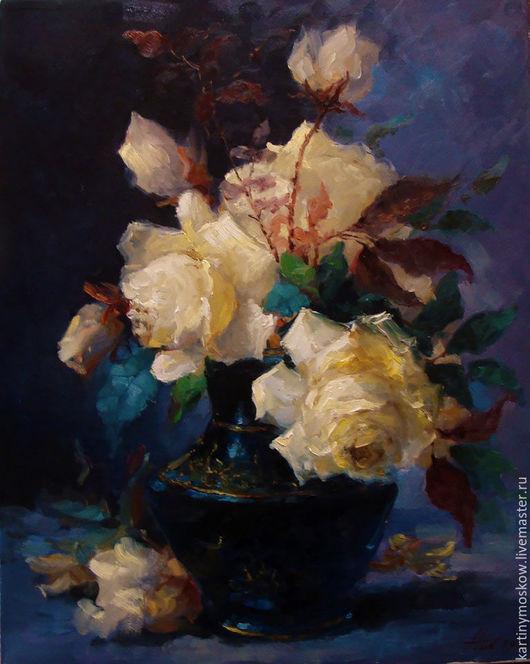 """Картины цветов ручной работы. Ярмарка Мастеров - ручная работа. Купить Картина маслом """"Розы в вазе"""". Handmade. Синий"""