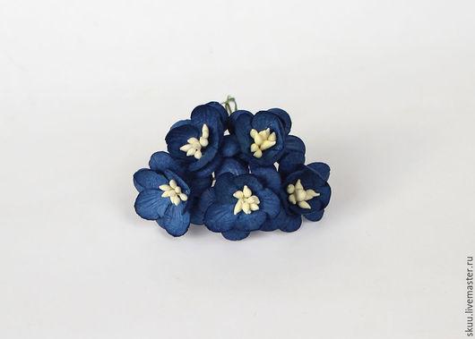Открытки и скрапбукинг ручной работы. Ярмарка Мастеров - ручная работа. Купить Цветы вишни синие 5 шт. Handmade.