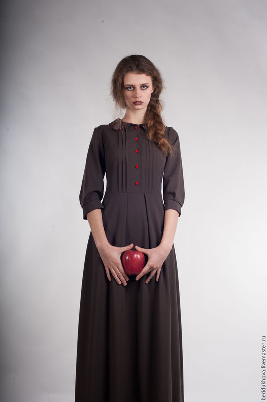"""Блузки ручной работы. Ярмарка Мастеров - ручная работа. Купить Платье """"Загадочная строгость"""". Handmade. Коричневый, воротничок, коричневое платье"""