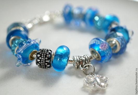 """Браслеты ручной работы. Ярмарка Мастеров - ручная работа. Купить Браслет """"Морская волна"""". Handmade. Голубой, подарок девушке женщине"""