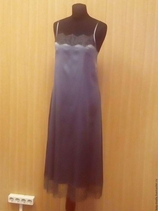 Платья ручной работы. Ярмарка Мастеров - ручная работа. Купить Нижнее платье из шелка с кружевом. Handmade. Серый, бельевой стиль