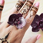 Украшения ручной работы. Ярмарка Мастеров - ручная работа Кольцо с цветком орхидеи из полимерной глины. Handmade.