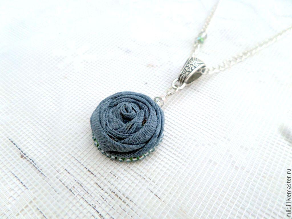 Pendant fabric flower 'Graphite flower', Pendants, Syktyvkar,  Фото №1