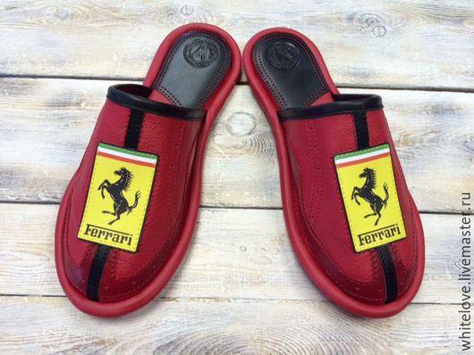 """Обувь ручной работы. Ярмарка Мастеров - ручная работа. Купить Кожаные тапочки """" Феррари""""-44. Handmade. Ярко-красный"""