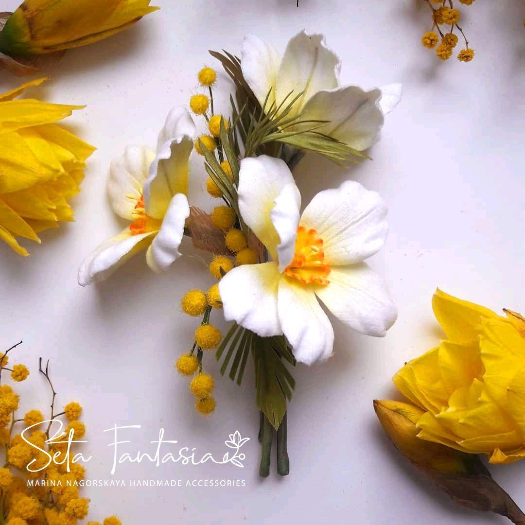 """Цветы из ткани. Брошь """"Праздник весны"""", Брошь-булавка, Москва,  Фото №1"""