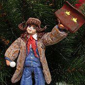 """Куклы и игрушки ручной работы. Ярмарка Мастеров - ручная работа """"Всем ребятам пример. Вовка"""" - ватная елочная игрушка. Handmade."""