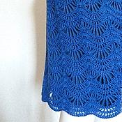 Одежда ручной работы. Ярмарка Мастеров - ручная работа Юбка вязаная  крючком, темно-синяя ажурная. Handmade.
