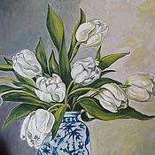 Картины и панно handmade. Livemaster - original item Still life with White tulips oil on canvas on hardboard,41,1h38,7 cm. Handmade.