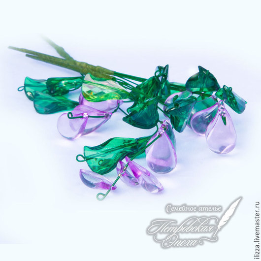 Искусственные растения ручной работы. Ярмарка Мастеров - ручная работа. Купить Цветочки из бусин. Handmade. Маленький букетик, сиреневый цветок