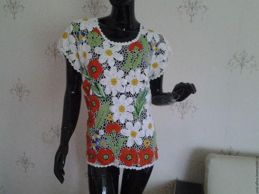 Блузки ручной работы. Ярмарка Мастеров - ручная работа. Купить Вязаная блузка Лесная поляна 3. Handmade. Цветочный