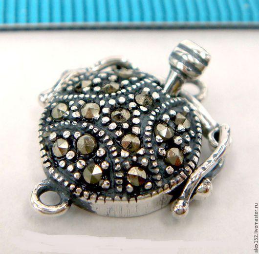 Для украшений ручной работы. Ярмарка Мастеров - ручная работа. Купить Серебро 925 ( окс)  коробчатый замок с марказитом 11,5 мм, высота 5 мм. Handmade.