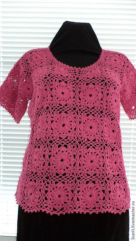 """Кофты и свитера ручной работы. Ярмарка Мастеров - ручная работа. Купить Кофта """"Ромашка"""". Handmade. Розовый, цветочный, ажурный узор"""