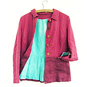 """Одежда ручной работы. Ярмарка Мастеров - ручная работа Льняной пиджак """"Спелая вишня"""". Handmade."""