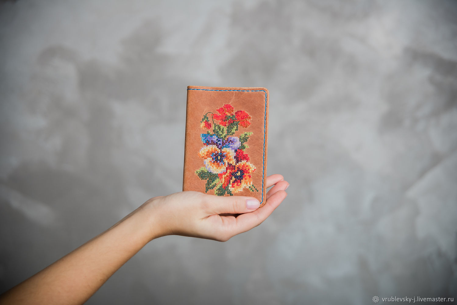 Passport cover with hand- embroidered KUKKA, Cover, Moscow,  Фото №1