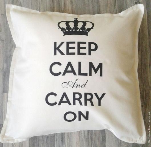Текстиль, ковры ручной работы. Ярмарка Мастеров - ручная работа. Купить Подушка декоративная Keep calm. Handmade. Черный
