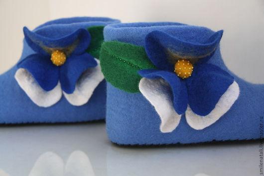 """Обувь ручной работы. Ярмарка Мастеров - ручная работа. Купить Короткие домашние валеночки """"Анютки"""". Handmade. Голубой"""