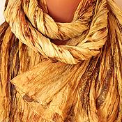 Аксессуары ручной работы. Ярмарка Мастеров - ручная работа Шелковый палантин Янтарный. Handmade.