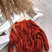Одежда handmade. Livemaster - original item Jerseys: Women`s hand-knitted oversize jumper in terracotta color. Handmade.
