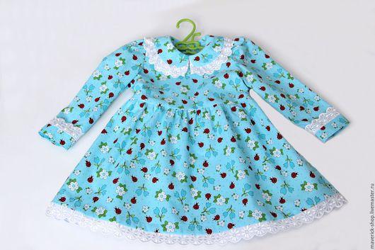 Одежда для девочек, ручной работы. Ярмарка Мастеров - ручная работа. Купить Бирюзовое платье для девочки с божьими коровками, украшенное шитьем. Handmade.