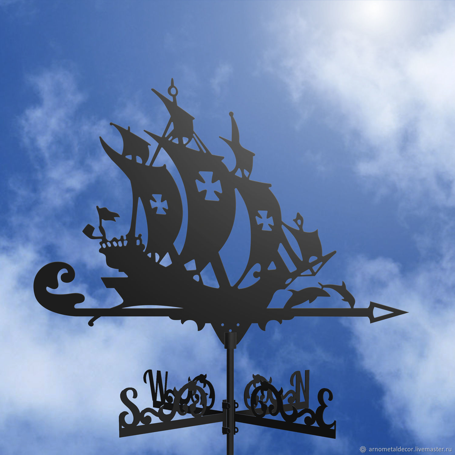 Weather vane on the roof ' Ship and dolphins', Vane, Ivanovo,  Фото №1