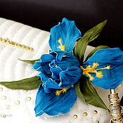 Украшения handmade. Livemaster - original item Leather flowers. IRIS.. Handmade.