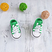 Работы для детей, handmade. Livemaster - original item Knitted baby booties shoes, knitted, for girls, green sneakers. Handmade.