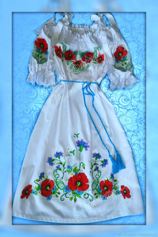 "Платье-вышиванка ""Маки с васильками"", Dresses, Zaporozhye,  Фото №1"