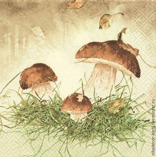 Декупаж и роспись ручной работы. Ярмарка Мастеров - ручная работа. Купить Три гриба (211205) - салфетка для декупажа. Handmade. Разноцветный