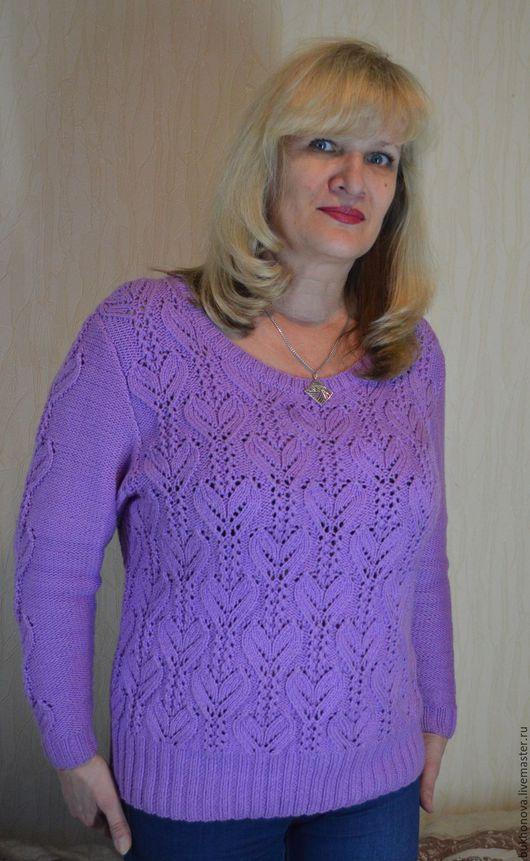 Кофты и свитера ручной работы. Ярмарка Мастеров - ручная работа. Купить Вязаный пуловер Фиалка. Handmade. Пуловер вязаный, сиреневый
