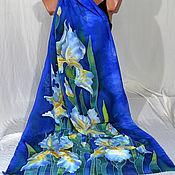 Аксессуары handmade. Livemaster - original item Stole silk batik Irises on blue. Handmade.