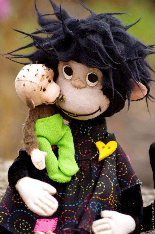Мишки Тедди ручной работы. Ярмарка Мастеров - ручная работа. Купить Мама обезьянка с непоседой малышом. Handmade. Комбинированный, обезьяна