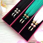 Украшения ручной работы. Ярмарка Мастеров - ручная работа Серьги-кисти Luxury Emerald Pearl изумрудные зеленые малахитовые. Handmade.