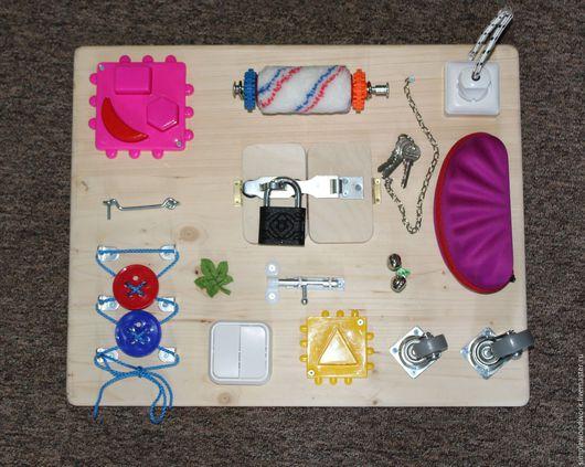 Развивающие игрушки ручной работы. Ярмарка Мастеров - ручная работа. Купить Бизиборд 40х50 см. с замком. Handmade. Комбинированный
