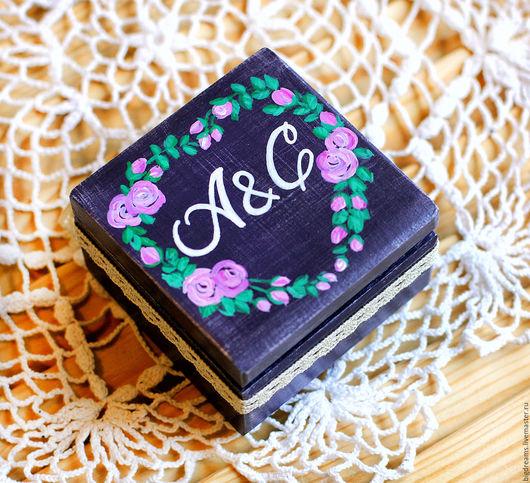 Свадебные аксессуары ручной работы. Ярмарка Мастеров - ручная работа. Купить Коробка для колец розы. Handmade. Тёмно-фиолетовый, шкатулка