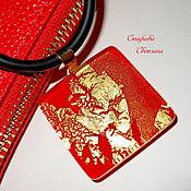 """Украшения ручной работы. Ярмарка Мастеров - ручная работа """"Red & Gold"""" кулон из стекла. Handmade."""