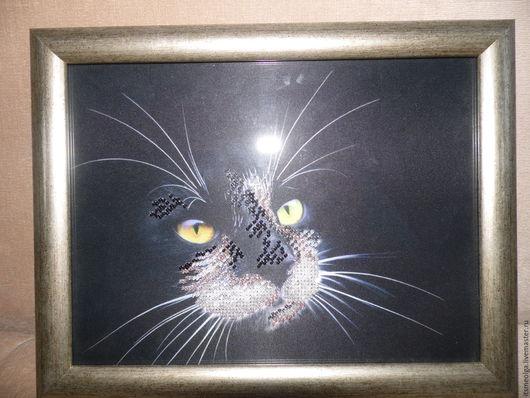Животные ручной работы. Ярмарка Мастеров - ручная работа. Купить Черный кот. Handmade. Черный, готовая работа, бисер чешский