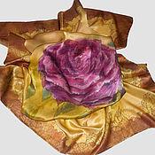 """Аксессуары ручной работы. Ярмарка Мастеров - ручная работа Шелковый платок """"Золотая роза"""" с авторской росписью батик. Handmade."""