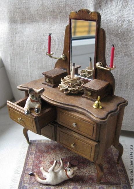 Миниатюра ручной работы. Ярмарка Мастеров - ручная работа. Купить Трюмо с зеркалом. Handmade. Коричневый, дерево